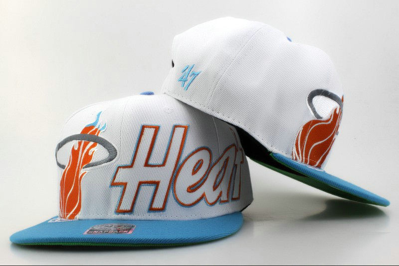 Miami Heat White Snapback Hat QH 0606