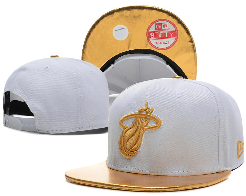 Miami Heat White Snapback Hat SD