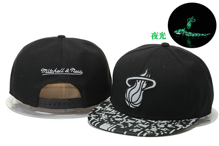 Miami Heat Black Snapback Noctilucence Hat GS 0620