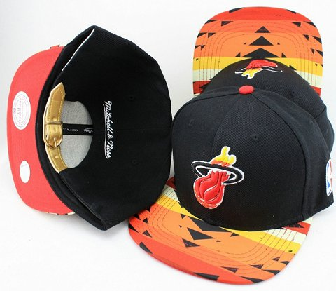 Miami Heat Navajo Retro Bill Gold Leather Strap Back Hat JT04