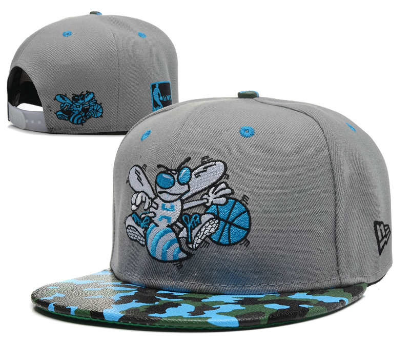 New Orleans Hornets Grey Snapback Hat SD 0613