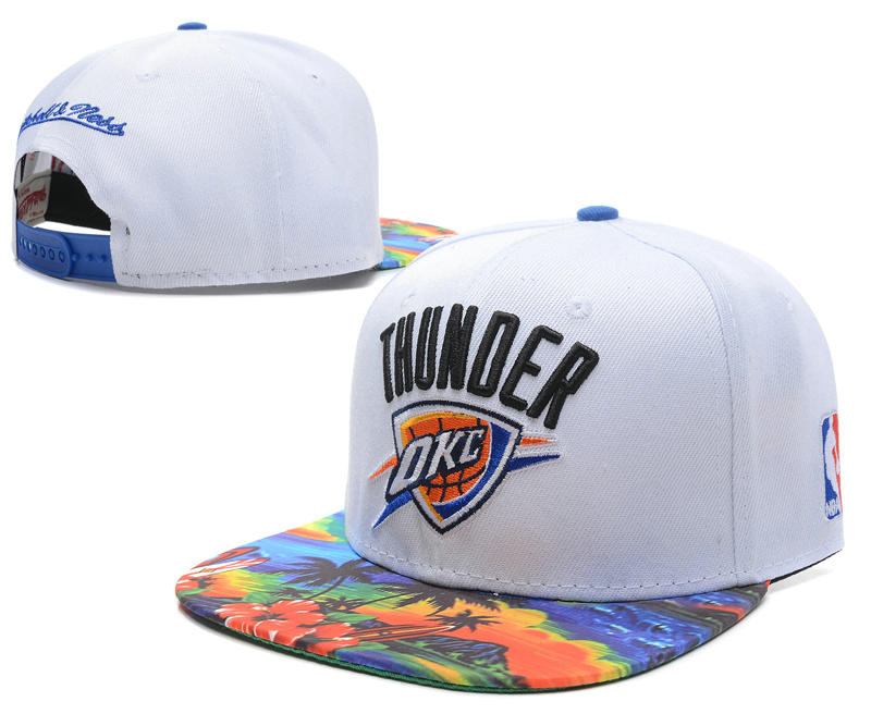 Oklahoma City Thunder White Snapback Hat SD