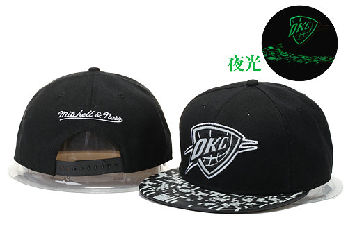 Oklahoma City Thunder Black Snapback Noctilucence Hat GS 0620