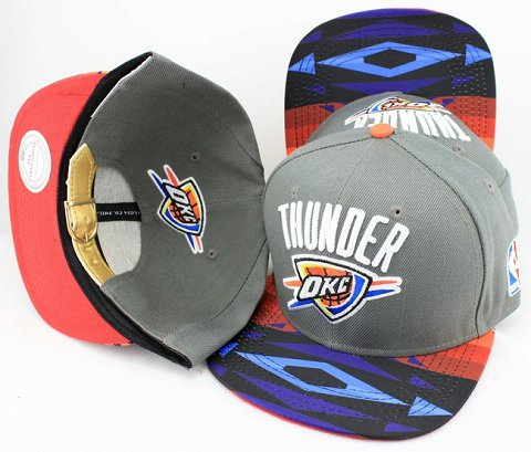 Oklahoma City Thunder Navajo Retro Bill Gold Leather Strap Back Hat JT12