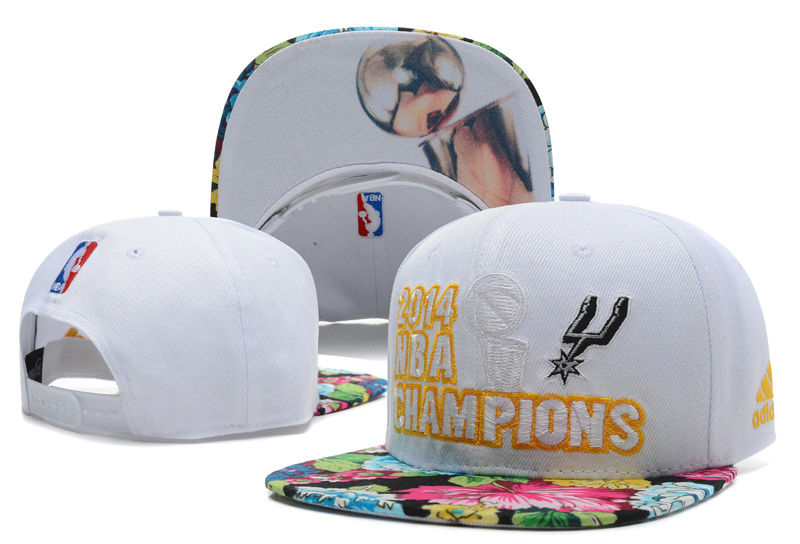 San Antonio Spurs 2014 NBA Finals Champions White Snapback Hat DF 0701