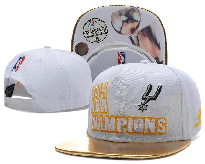 San Antonio Spurs 2014 NBA Finals Champions White Snapback Hat SD 0701