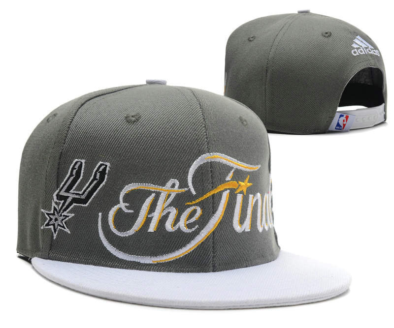 San Antonio Spurs Adidas 2014 NBA Finals Champions Grey Snapback Hat DF 1 0701