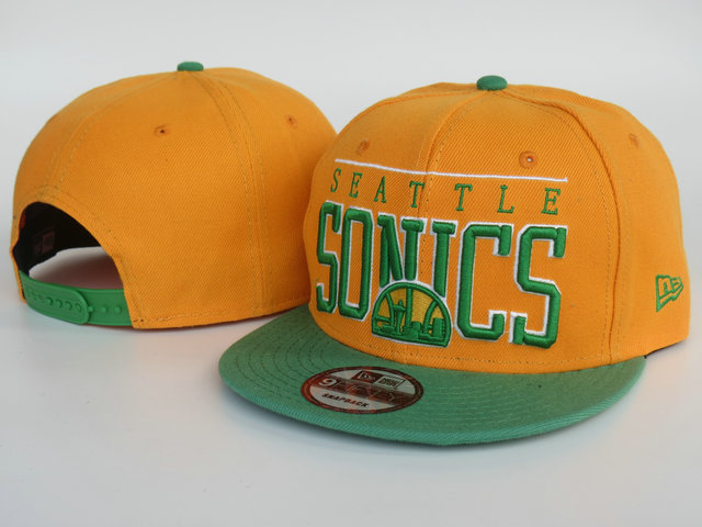 Seattle SuperSonics Orange Snapback Hat LS