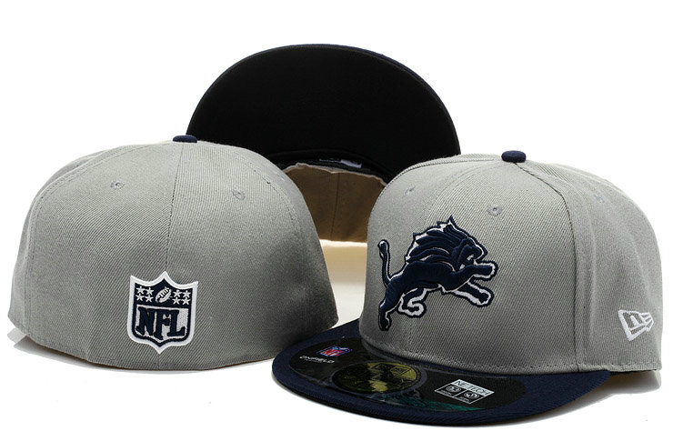 Detroit Lions Grey Fitted Hat 60D 0721