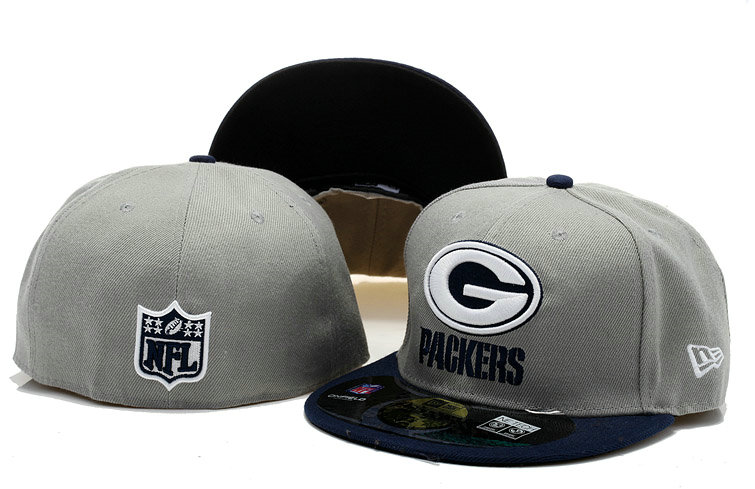 Green Bay Packers Grey Fitted Hat 60D 0721