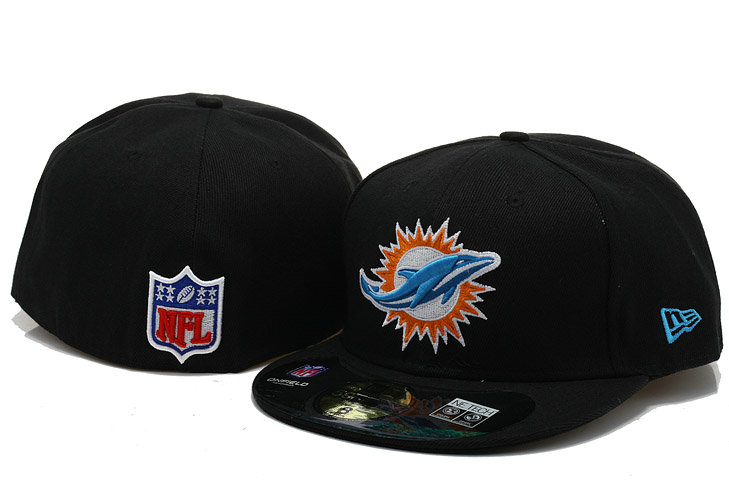 Miami Dolphins Black Fitted Hat 60D 0721