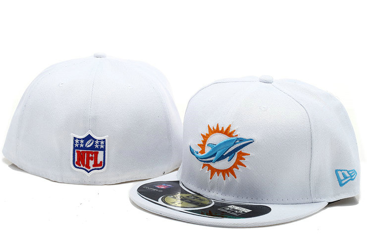 Miami Dolphins White Fitted Hat 60D 0721