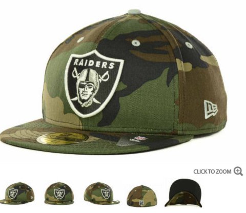 Oakland Raiders New Era NFL Camo Pop 59FIFTY Hat 60D3