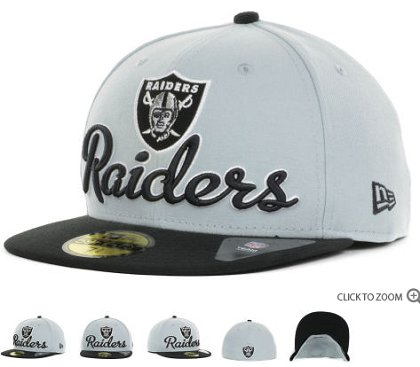 Oakland Raiders New Era Script Down 59FIFTY Hat 60d19
