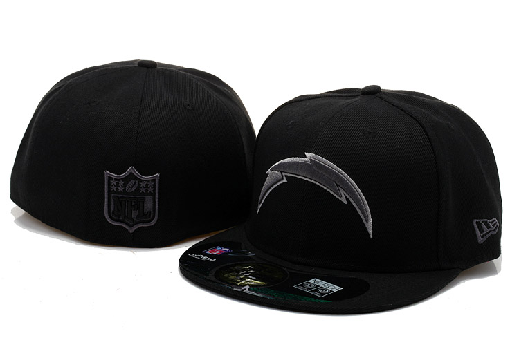 San Diego Chargers Black Fitted Hat 60D 0721