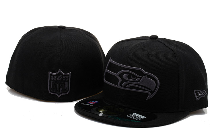 Seattle Seahawks Black Fitted Hat 60D 0721