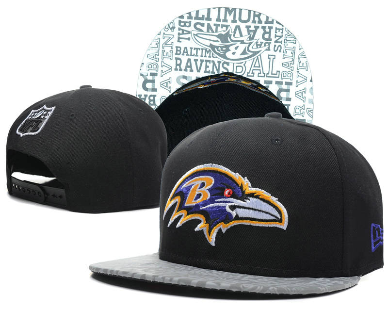 Baltimore Ravens 2014 Draft Reflective Black Snapback Hat SD 0613