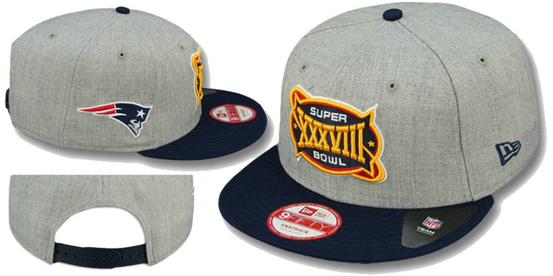 Super Bowl XXXVIII New England Patriots Grey Snapbacks Hat LS