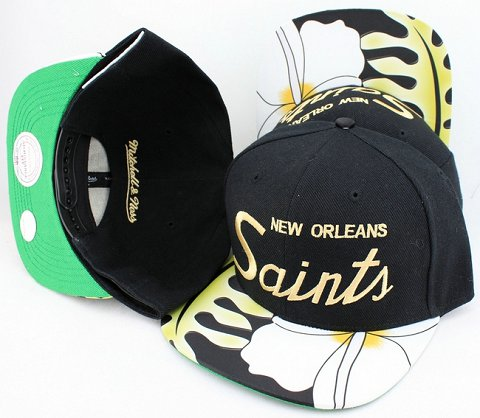 New Orleans Saints Flower Bill Snapback Hat JT11