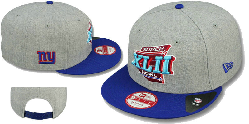 Super Bowl XLII New York Giants Grey Snapbacks Hat LS