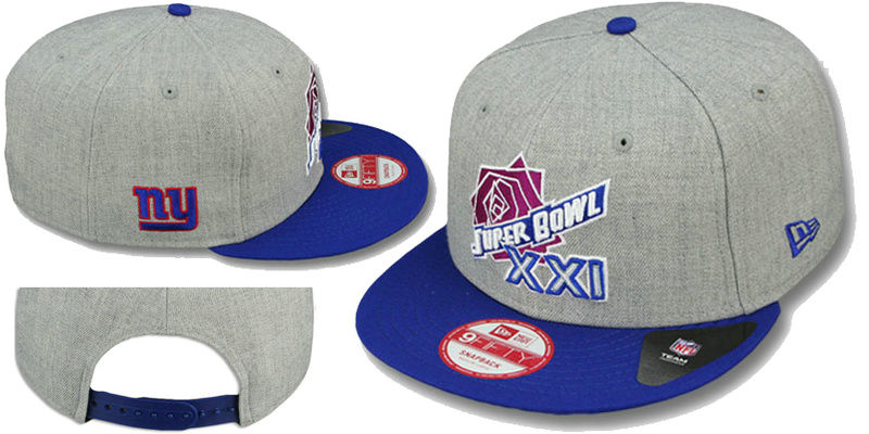 Super Bowl XXI New York Giants Grey Snapbacks Hat LS
