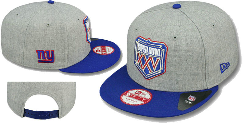 Super Bowl XXV New York Giants Grey Snapbacks Hat LS