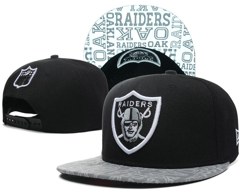 Oakland Raiders 2014 Draft Reflective Black Snapback Hat SD 0613