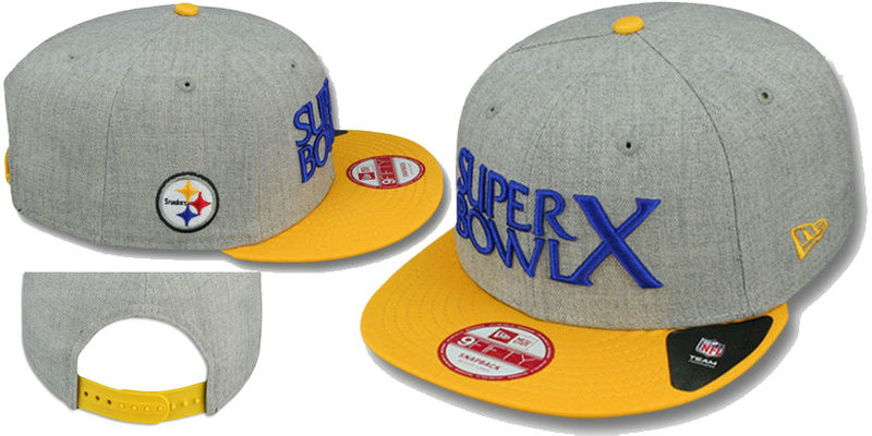Super Bowl X Pittsburgh Steelers Grey Snapbacks Hat LS