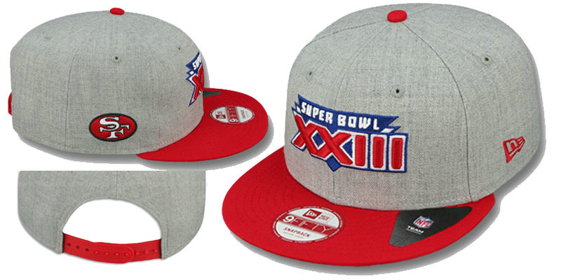 Super Bowl XXIII San Francisco 49ers Grey Snapbacks Hat LS