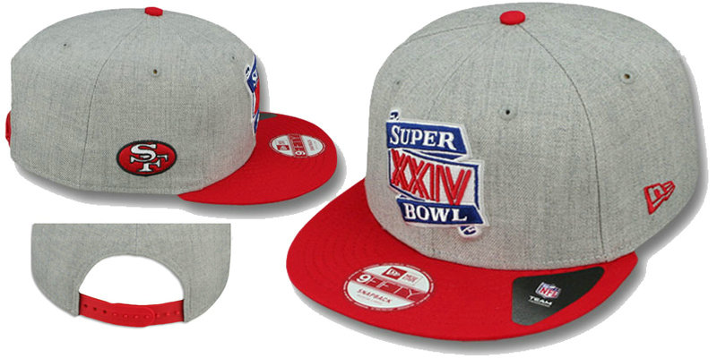 Super Bowl XXXIV San Francisco 49ers Grey Snapbacks Hat LS