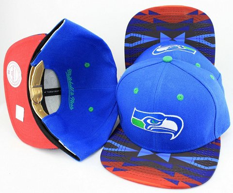 Seattle Seahawks Navajo Retro Bill Gold Leather Strap Back Hat JT10