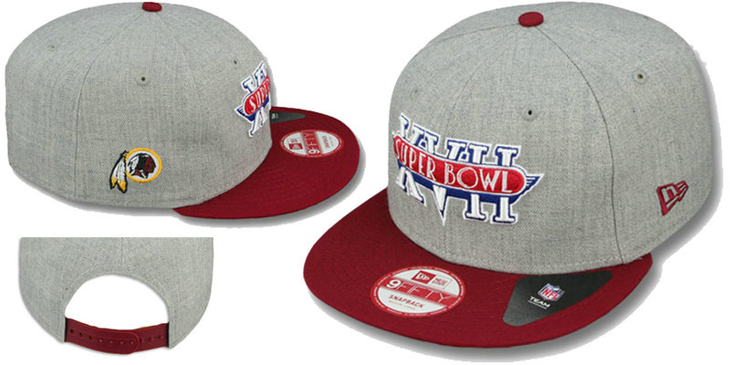 Super Bowl XVII Washington Redskins Grey Snapbacks Hat LS