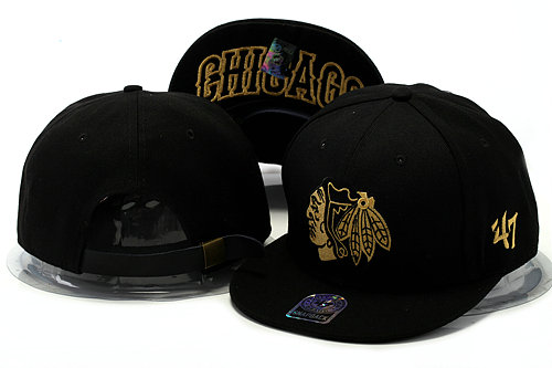 Chicago Blackhawks Black Snapback Hat YS 0528