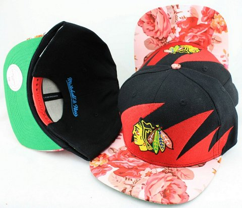 Chicago Blackhawks Flower Bill Snapback Hat JT14