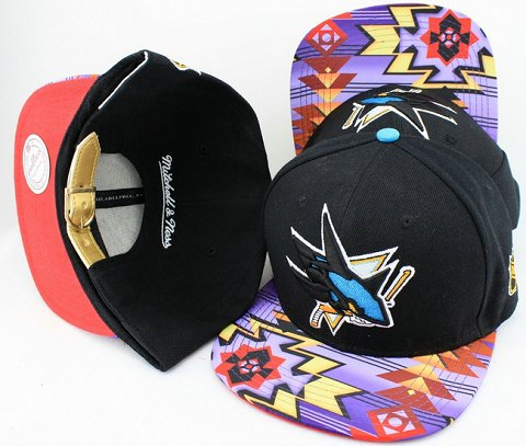 San Jose Sharks Navajo Retro Bill Gold Leather Strap Back Hat JT11
