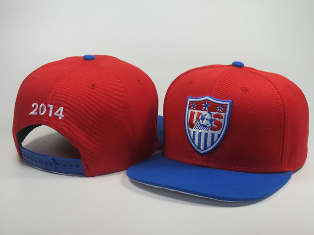 America 2014 World Cup Red Snapback Hat LS 0617
