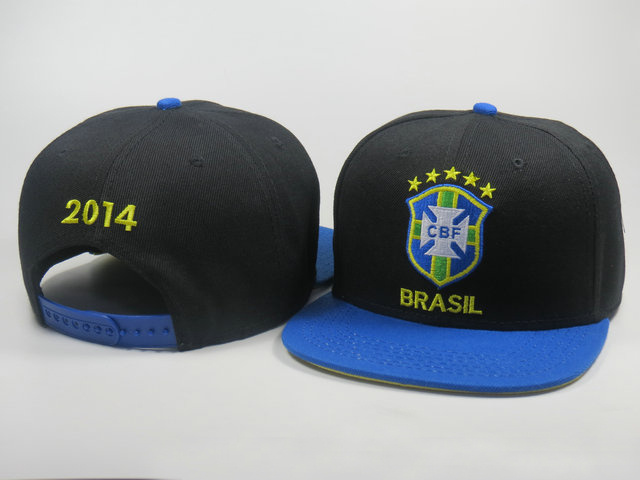 Brazil 2014 World Cup Black Snapback Hat LS 0617