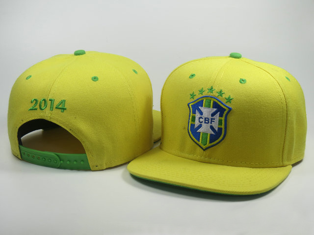 Brazil 2014 World Cup Yellow Snapback Hat LS 0617