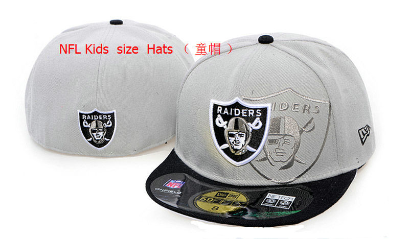 Kids Oakland Raiders Grey Fitted Hat 60D 0721